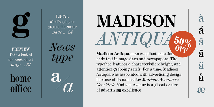 141810 - Madison Antiqua (50% discount, from 17,50€)